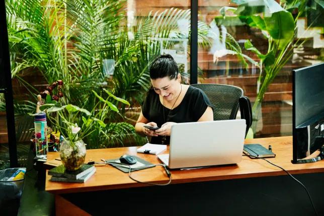 Живые растения в офисе у рабочего места